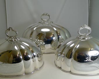Magnificent Set Three Antique English Meat / Food Domes by Martin Hall & Co. c.1880