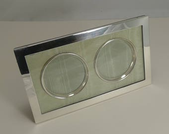 Elegant Antique English Double Sterling Silver Photograph Frame - 1905