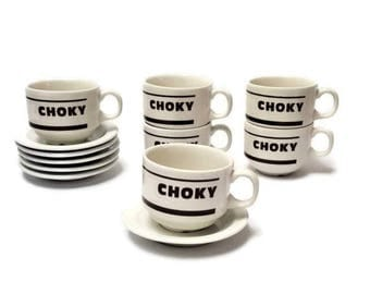 10% OFF 6 chocolate cups CHOKY with saucers, porcelain CHURCHILL, vintage, French hot chocolate