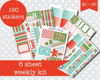 TIS THE SEASON Cute festive Planner stickers Weekly Kit Vertical layout 6 Sheets