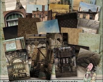 Fantastical Steampunk Backgrounds - 3 Digital Collage Sheet ATC .png - itKuPiLLi _Printable, Instant Download