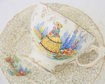 Vintage Royal Crown/Morley Ware Cup and Saucer, Crinoline Lady Decor, Gold Chintz