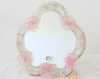 Lovely Vintage Venetian Table Top Mirror, Murano Glass Mirror, Vanity Mirror with Pink Glass Flowers, Glass Beads, Boudoir Wall Mirror