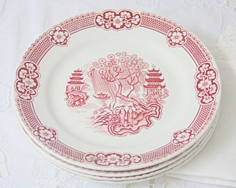 Set of Four Vintage Petrus Regout 'Chinois' Breakfast Plates, Red Transfer Ware, Chinese Garden Decor, Made in Holland