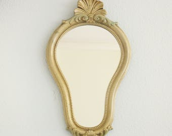 Decorative Vintage Wall Mirror With Original Colored Paint Finish, Ornate Frame
