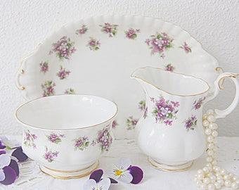 Vintage Royal Albert Bone China 'Sweet Violets' Creamer and Sugar Set, Milk Jug and Sugar Bowl, Matching Tray, England