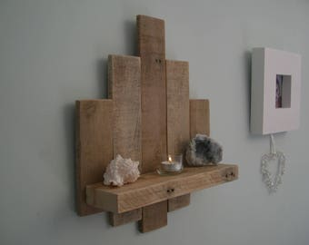 Shabby Chic Rustic Wooden Wall Hanging Shelf in Reclaimed Wood