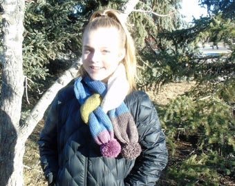 Knit Tube Scarf with Pom Poms-Turkish Delight