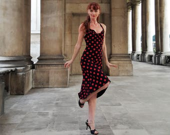 Tango halterneck dress- VESPER Black/Red dots