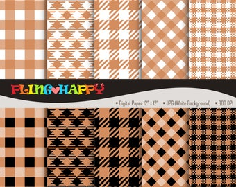 70% OFF Gingham Brown Digital Papers, Gingham Pattern Graphics, Personal & Small Commercial Use, Instant Download
