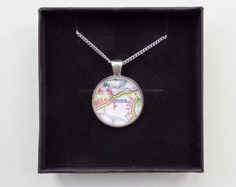 Round Map Necklace - Choose your necklace