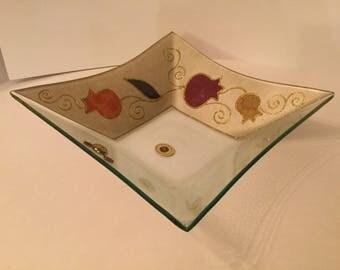 Lily Art Israel/ Judaica Art Glass Bowl/ Handmade in Israel/ Jewish Celebration Bowl/ Judaic Glass Tableware 1992