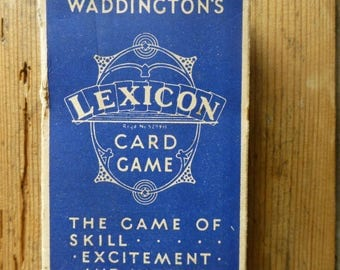 Boxed Waddington's Lexicon Card Game with Rules C1950s