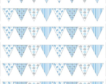 Baby Shower baby blue Style Bunting Edible Icing Sheet Cake Topper Decoration - 64 triangles