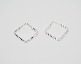 Square Hoop Earrings, Geometric Earrings, 925 Sterling Silver, Square Jewelry, Gift for her - MI2/HP97