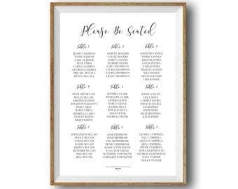 Printable Wedding Seating Chart, Printable Wedding Sign, Black and White Wedding Sign, Custom Reception Seating Chart, Wedding Seating Sign