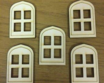 Pack of 5 Birch Wood Fairy House Windows, Elf Windows, Pixie Windows.