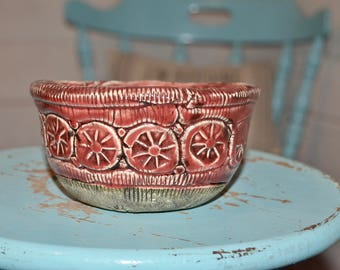 Vintage Pottery Bowl, Red Bowl, Boho decor, vintage home decor