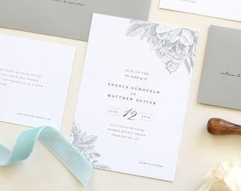 Dusty Blue Wedding Invitation Set | Soft Blue Wedding Invitations, Romantic Modern Floral Wedding Invitations, Vintage floral