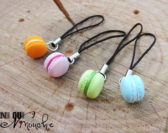 Jewel charm cell phone strap / pink multicolor macaroon case blue green and orange (fimo)