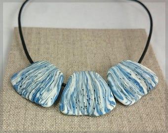 183 Porcelain Statement Triptych necklace