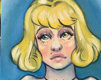 Peggy Sue - 6x6 oil painting - portrait