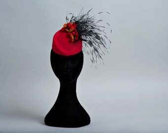 Red felt formal hat with black feathers bespoke millinery flower Fascinator pillbox top hat