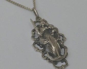 Patrona Bavariae Patron Saint of old silver pendant 925 vintage SK336