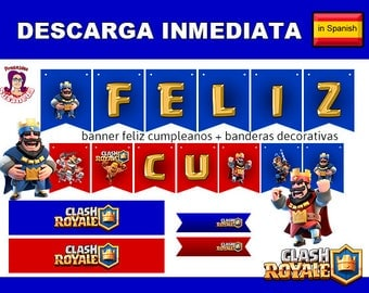 CLASH ROYALE Party Kit Printable in Spanish. Instant download! Clash Royale Birthday Decoration,  Clash Royale Birthday  Banner