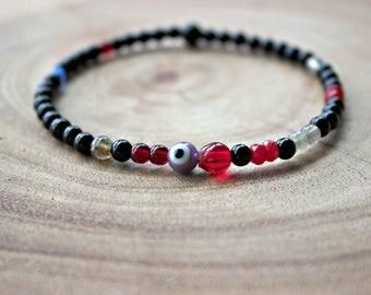 Men's Evil Eye Bracelet / Men's 4mm Bracelet