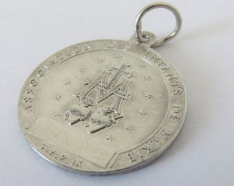 Antique French, Silver,  Miraculous Medal, Signed L. PENIN