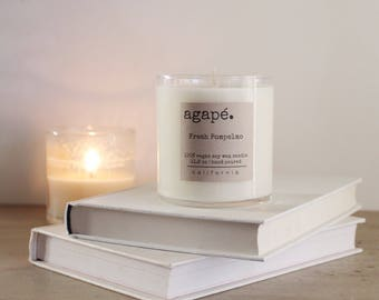 BEST SELLER •• Fresh Pompelmo, soy candle, grapefruit soy candle, hand poured soy candle, vegan soy candle, natural candle,  Agape Candles