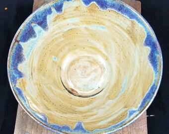 Oatmeal/Blue Large Ceramic Bowl, Pottery Bowl, Large Bowl, Ceramic Bowl, Fruit Bowl, Pasta Bowl, Decorative Bowl, Glazed Ceramic Bowl