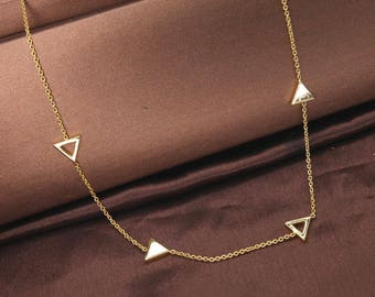 Triangle Necklace, Statement Necklace, Inverted Triangle Necklace, Gold Necklace, Simple Necklace, Everyday Necklace BN724-G1