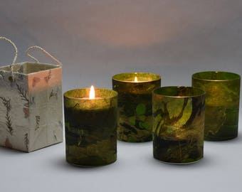 Green and Black Marble Soy Luminary Candles - Case of 4