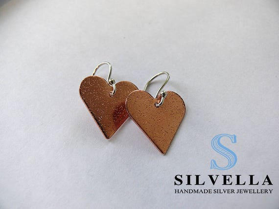 Pretty Copper Textured Heart Earrings - Sterling Silver Earwire - Copper Heart Dangle Earrings