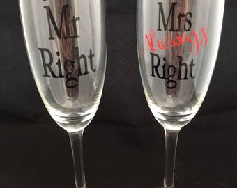 Couples champagne glasses - Mr & Mrs champagne flutes  - wedding present - bride and groom wedding gift  anniversary gift