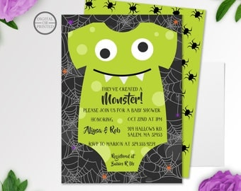 Halloween Baby Shower Invitation   Monster Baby Shower Inviations   They've Created a Monster Invitation   A Little Monster on the Way