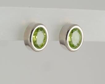 Green Peridot Sterling Silver Bezel Set Earrings