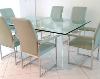 6 Milo Baughman Chrome Arm Dining Chairs Mid Century Modern