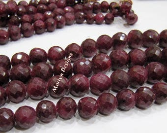 Beautiful Natural Ruby Corundum Round Faceted Beads , Far Size Beads 8 to 12mm , Strand 8 inch long , Precious Gemstone Beads , Birth Stone.