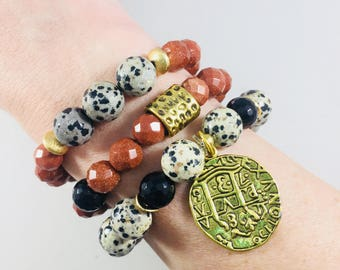 """SALE! Set of 3 """"Texoma"""" bracelets with gold medallion charm  // Fast and free shipping"""