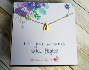 Let your dreams take flight, Gold plated necklace
