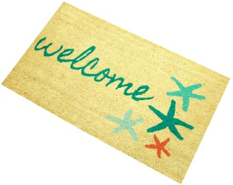 Sand and Starfish Coco Coir Doormat, Beach Welcome Mat - Free Shipping