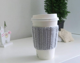 Light Grey Coffee Cup Sleeve | Hand Knit Cup Cosy | Fits Starbucks Cup | Gifts For Her | Stocking Fillers | Tea Cosy | Knit Coffee Cosy