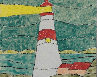 Lighthouse #401 Hand Painted Kiln Fired Decorative Ceramic Wall Art Tile 8 x 8