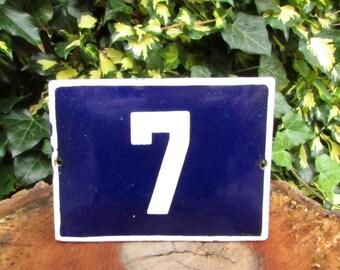 Vintage French Blue House Number, Door Number 7, Preservede French Enameled Sign Number 7, Street Sign Number 7, Blue Enamel Metal Plate