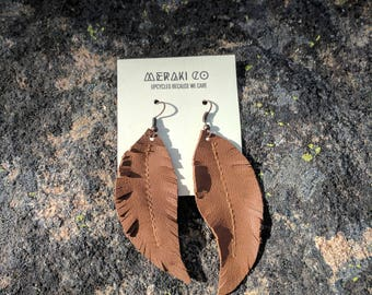 Upcycled Brown Leather Feather Earrings