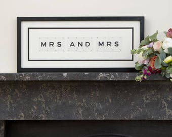 Mrs And Mrs Vintage Frame by VINTAGE PLAYING CARDS