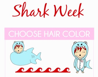 Shark Week | Bonbons, Planner Stickers, Period tracker